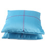 Lushomes Blue Blackout Polyester 16 x 16 Inch Cushion Cover with Artistic Stitch - Set of 2