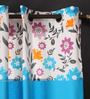 Lushomes Blue Cotton 108 x 54 Inch Flower Printed Bloomberry Long Door Curtain with 8 Eyelets & Printed Tiebacks - Set of 2