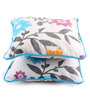 Lushomes Blue Cotton 12 x 12 Inch Flower Printed Cushion Covers with Co-Ordinating Cord Piping - Set of 2