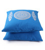 Lushomes Blue Cotton 16 x 16 Inch Cushion Covers with Silver Foil Print - Set of 2