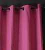 Lushomes Bordeaux Cotton 60 x 54 Inch Plain Windows Curtain with 8 Eyelets & Plain Tiebacks - Set of 2