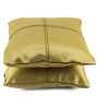 Lushomes Ginger Green Blackout Polyester 12 x 12 Inch Cushion Cover with Artistic Stitch - Set of 2