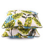 Lushomes Green Cotton 16 x 16 Inch Forest Printed Cushion Covers with Co-Ordinating Cord Piping - Set of 2