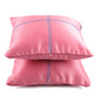 Lushomes Light Pink Blackout Polyester 12 x 12 Inch Cushion Cover with Artistic Stitch - Set of 2