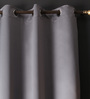 Lushomes Metal Polyester 108 x 54 Inch Plain Blackout Long Door Curtain with 8 Metal Eyelets - Set of 2