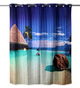 Lushomes Multicolour Polyester 82 x 72 Romantic Beach Shower Curtain
