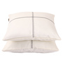 Lushomes Off-White Blackout Polyester 16 x 16 Inch Cushion Cover with Artistic Stitch - Set of 2