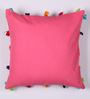 Lushomes Pink Cotton 16 x 16 Inch Cushion Cover with Pom Pom