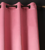 Lushomes Pink Polyester 60 x 54 Inch Plain Blackout Windows Curtain with 8 Metal Eyelets - Set of 2