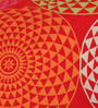 Lushomes Red Cotton 16 x 16 Inch Spiral Printed Cushion Covers with Co-Ordinating Cord Piping - Set of 2