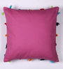 Lushomes Violet Cotton 16 x 16 Inch Cushion Cover with Pom Pom