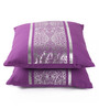 Lushomes Violet Cotton 16 x 16 Inch Cushion Covers with Silver Foil Print - Set of 2