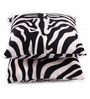 Lushomes White Polyester 12 x 12 Inch Zebra Skin Printed Cushion Covers - Set of 2