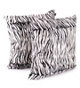 Lushomes White Polyester 24 x 24 Inch Tiger Skin Printed Cushion Covers - Set of 2