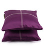 Lushomes Wine Blackout Polyester 12 x 12 Inch Cushion Cover with Artistic Stitch - Set of 2