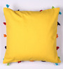 Lushomes Yellow Cotton 16 x 16 Inch Cushion Cover with Pom Pom