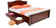 Lynn storage Queen Bed with storage in Brown colour by Looking Good Furniture