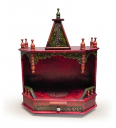Rangilo Rajasthan Mango Wood Painted Temple With Drawer