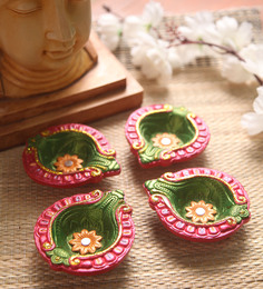 Manomay Kreations Multicolour Clay Hand Painted Diwali Diya - Set Of 4 - 1551201