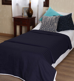 Mark Home Navy Blue Self Striped Cotton Single Bed Dohar