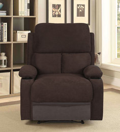 Matt One Seater Recliner With Cup Holder In Chocolate Colour By @Home