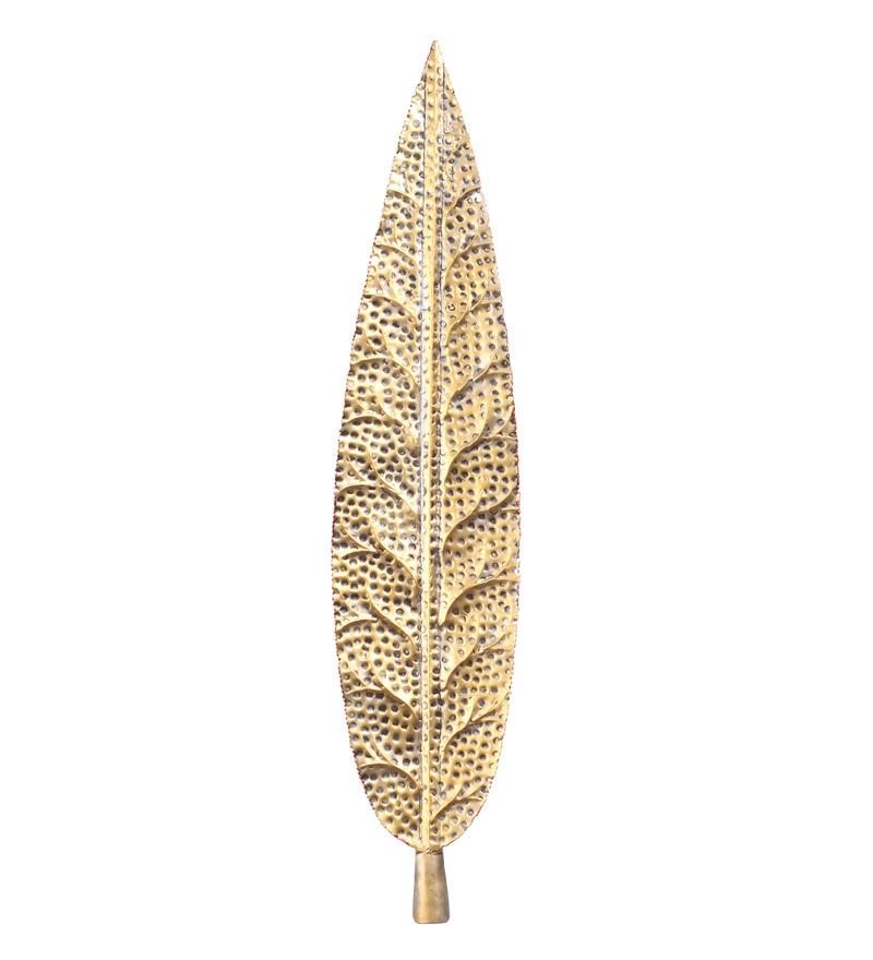 Gold Iron Wall Decor : Buy malhar gold iron leaf wall hanging