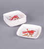 Machi Munchies Red Melamine Square Snack Plate - Set Of 6