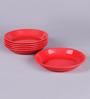 Machi Red Melamine Dahi Bhalla Plate - Set Of 6