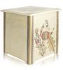 Madhubani White Gold Peacock Wooden Storage Box cum Stool by VarEesha