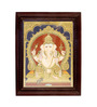 Madhurya Multicolour Gold Plated Ganesha Framed Tanjore Painting