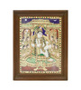 Madhurya Multicolour Gold Plated 15 X 19 Inch Lord Krishna with Gopikas Framed Tanjore Painting
