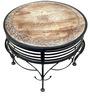 Mango Wood & Wrought Iron Round Coffee Table by Saaga