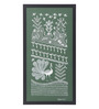 Manomay Kreations Green Canvas Peacock & Farmers Framed Warli Painting