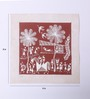 Manomay Kreations Red Canvas Unframed Warli Painting