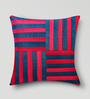 Mapa Home Care Blue & Pink Duppioni 16 x 16 Inch Woven Stripes Cushion Cover