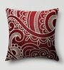 Mapa Home Care Maroon Duppioni 16 x 16 Inch Silk Embroidered Cushion Cover