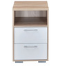 Marilyn High Gloss Bed Side Table in Oak & White Colour by @home