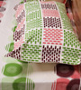 Mark Home Geometric Pink & Green Cotton Abstract Bed Sheet (with Pillow Covers) - Set of 3