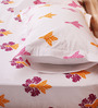 Mark Home Floral Motifs Orange & Pink Cotton Abstract Bed Sheet (with Pillow Covers) - Set of 3