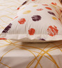 Mark Home Yellow Cotton Abstract Bed Sheet (with Pillow Covers) - Set of 3