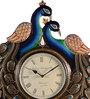 Marwar Stores Multicolour MDF 18 x 2 x 24 Inch Peacock Shaped Wall Clock