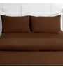 Maspar Brown Cotton Solid 108 x 108 Inch Double Bed Sheet (with Pillow Covers)