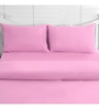 Maspar Light Pink Cotton Solid 88 x 60 Inch Bed Sheet (with Pillow Cover)