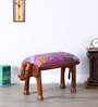 Dvidanta Handcrafted Fuschia Fabric Stool by Mudramark