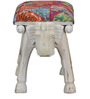 Gajadanta Stool with Patchwork Fabric in Distress Finish by Mudramark