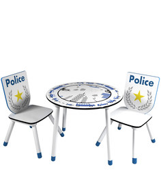 McPlodd Activity Table And Chair Set In White And Blue Finish By Mollycoddle