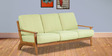 Callao Green Three Seater Sofa in Light Walnut Finish by CasaCraft
