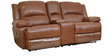 Mercedes Half Leather Two Seater Sofa Electric Recliner With Console in Brown Colour by HomeTown
