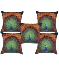 Me Sleep Dancing Peacock Cushion Cover Set Of Five- 30 Cms X 30 Cms