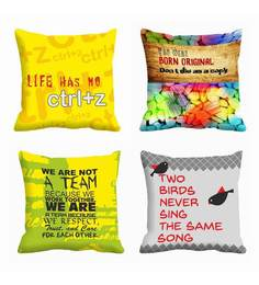 Me Sleep - Multicoloured Quotes Digitally Printed Cushion Cover ( Satin , Set Of 4)